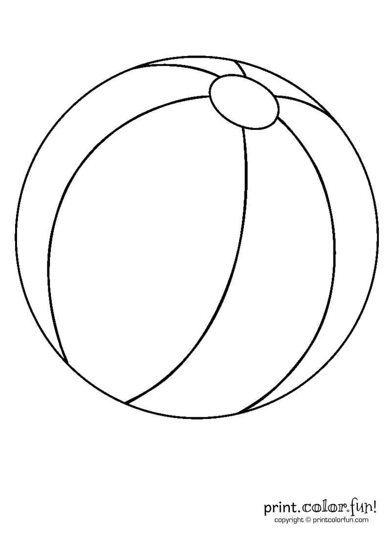 Preschool Beach Ball Coloring Page