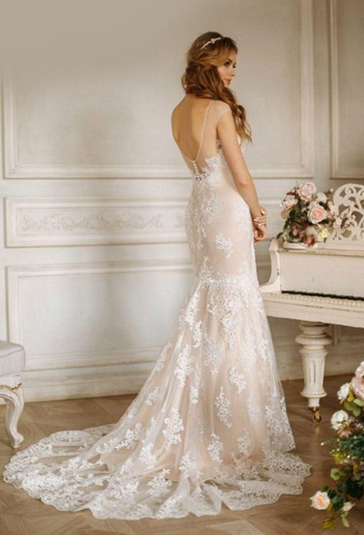Vintage Strapless Aline Long Lace Wedding Dress Open Back