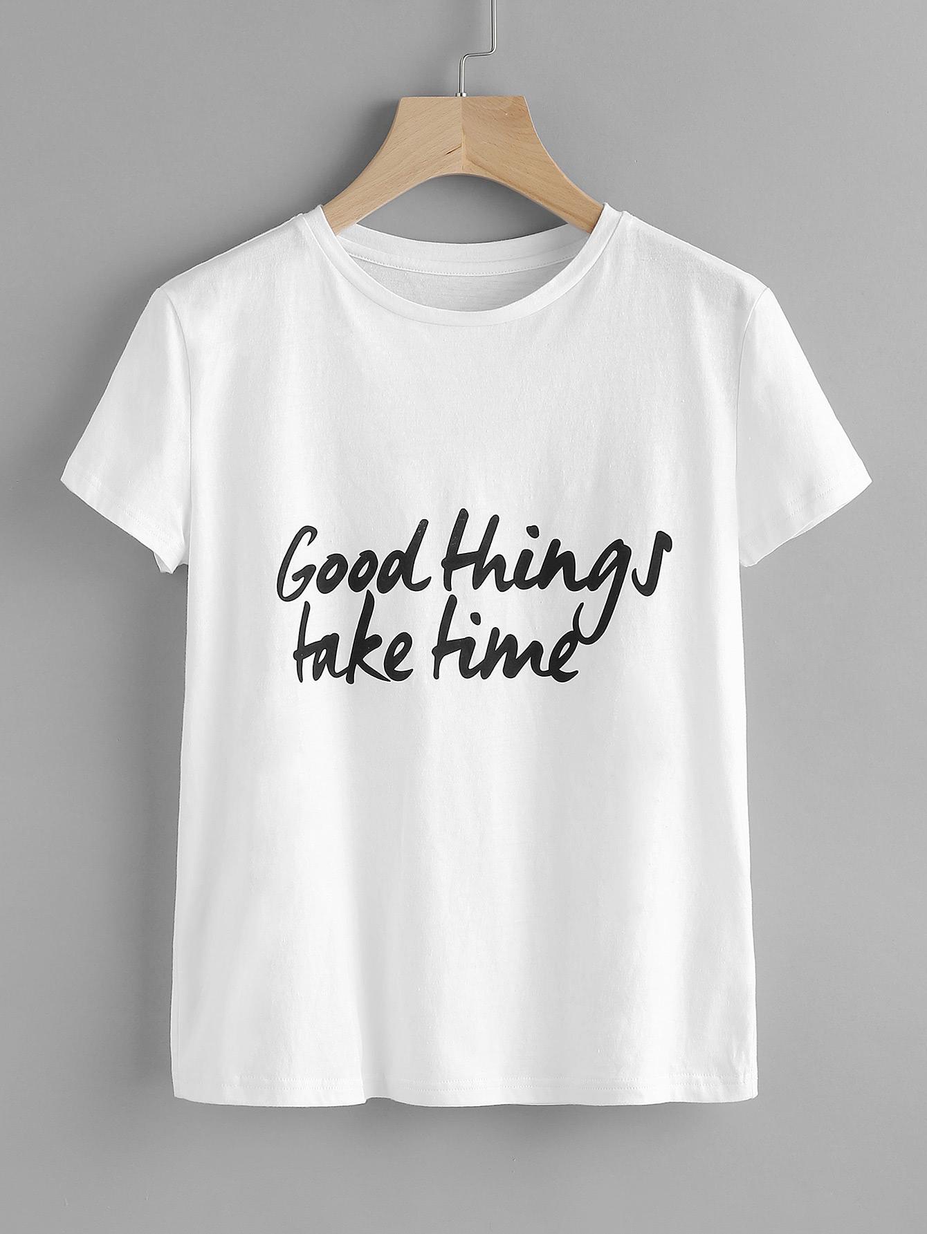 fa0b941ae8 Shop Good Things Take Time Tee online. SheIn offers Good Things Take Time  Tee &