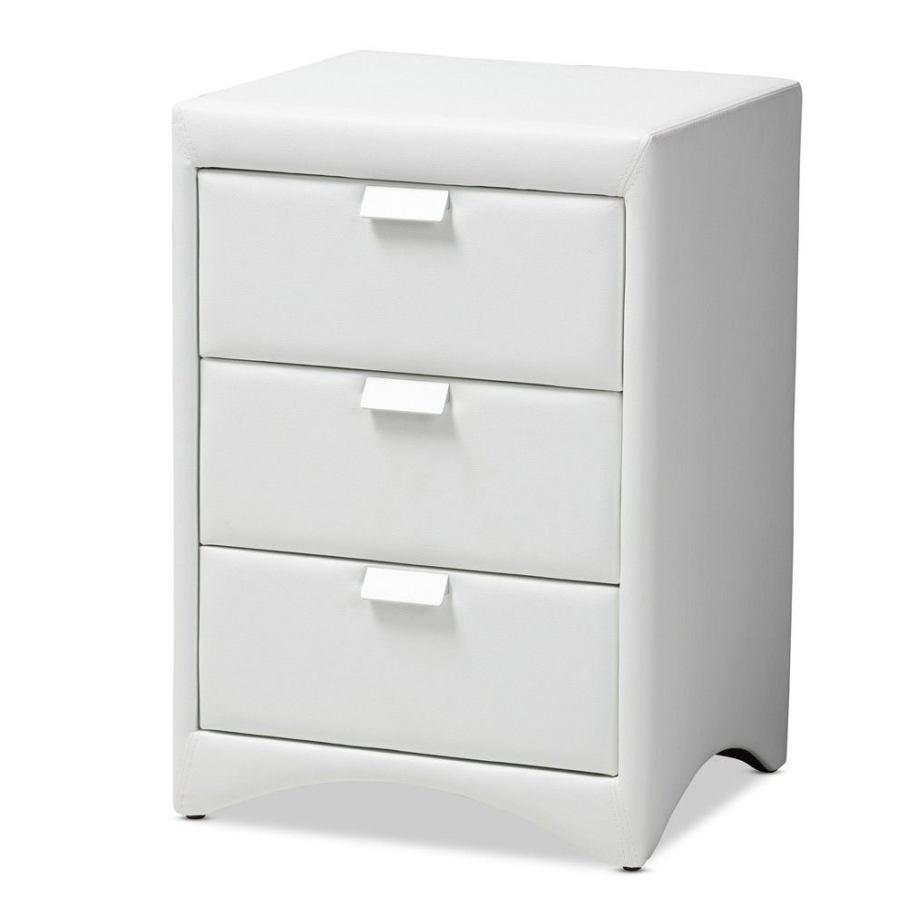 Talia Faux Leather Upholstered 3 Drawer Nightstand White Baxton Studio White Faux Leather Leather Nightstand White Nightstand [ 1000 x 1000 Pixel ]