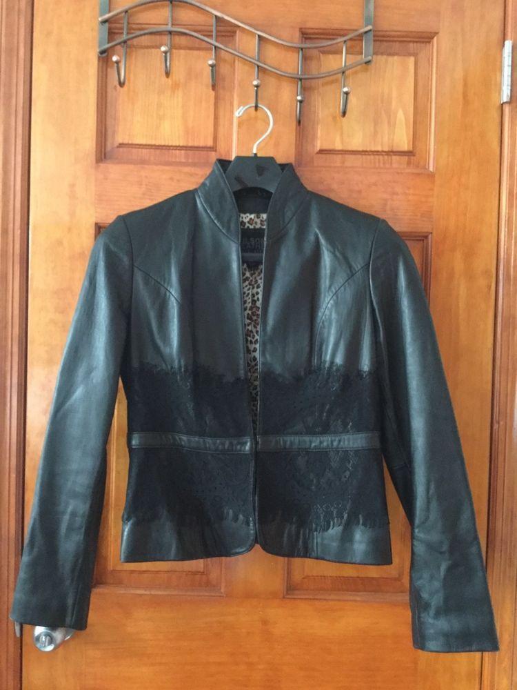 c5b507b814ed3 Wilson s Leather Women s Black Leather Jacket w  Leopard Print Lining Sz M   fashion
