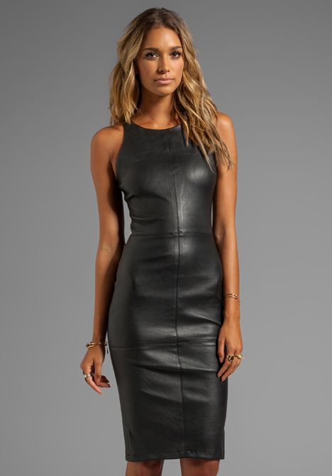 Gray and black dress with leather
