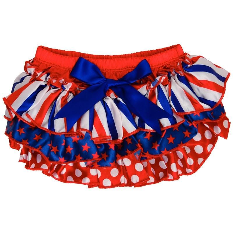 White Diaper Cover with Red White /& Blue Ruffles