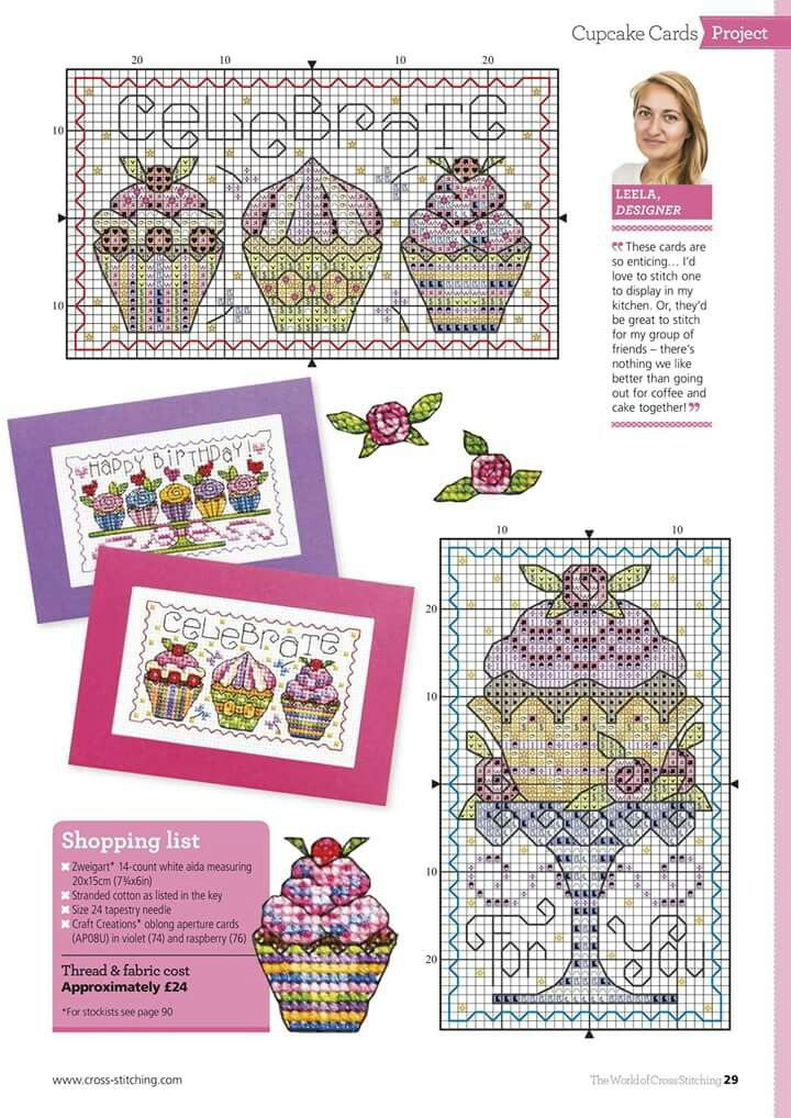 Pin de Paula Gallegos en cup cakes | Pinterest | Punto de cruz ...