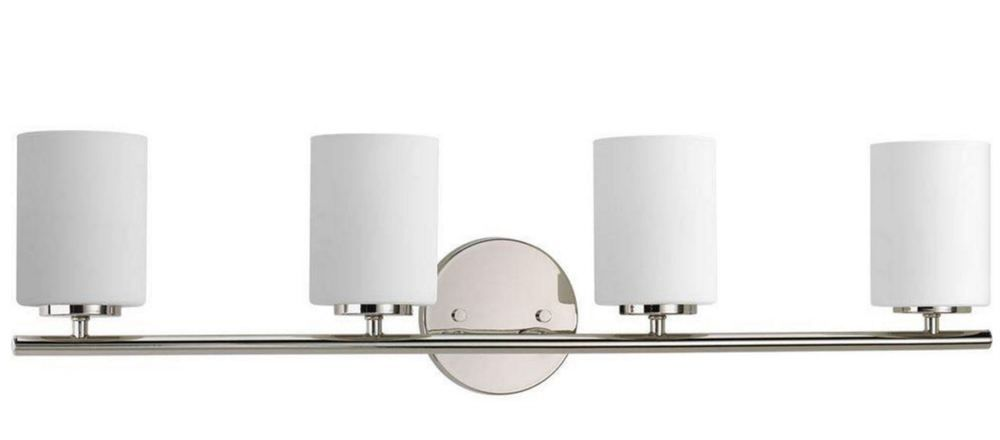4 bulb polished nickel bathroom mirror vanity light decor wall 4 bulb polished nickel bathroom mirror vanity light decor wall fixture glass new mozeypictures Gallery