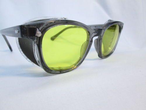 a821bbc7fc American Optical AO Safety Eyeglasses New Steampunk Gray Yellow 48 UV400