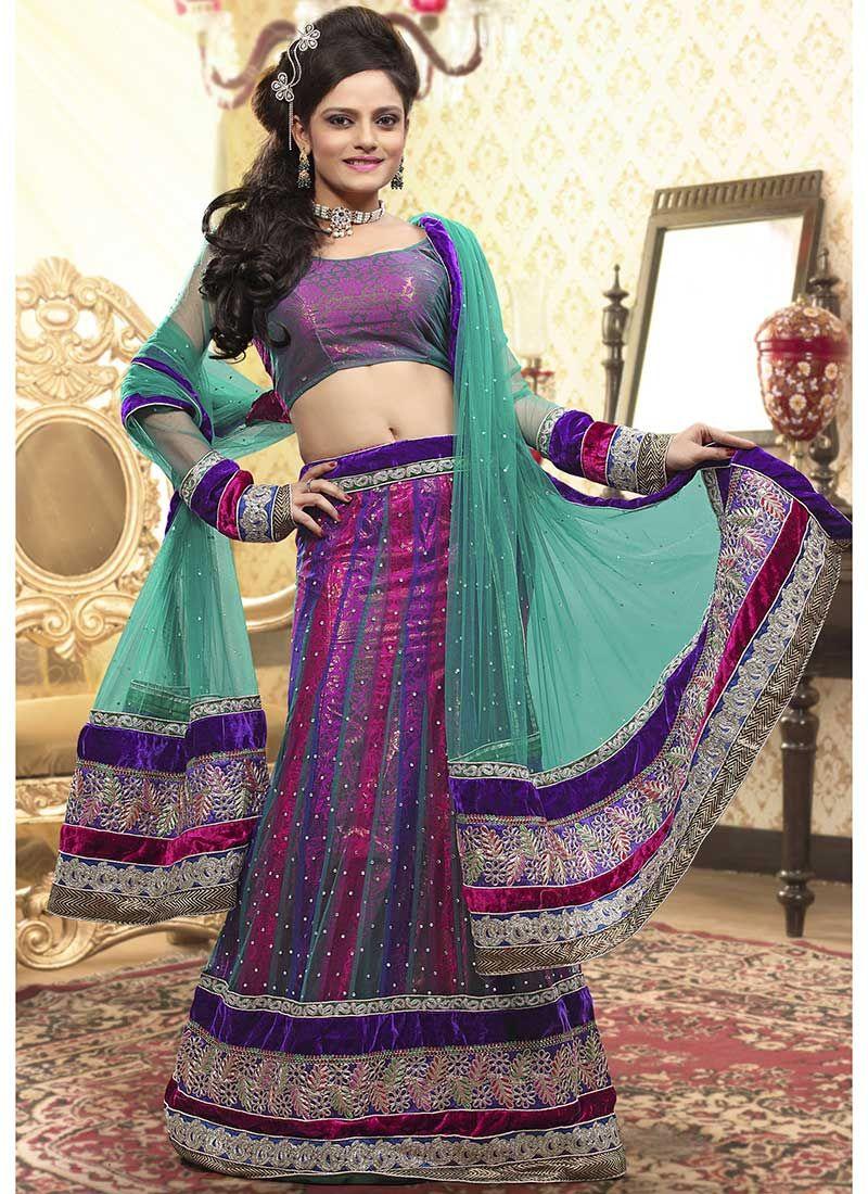 Multicolored A Line Net lehenga Choli | Bridesmaid saree | Pinterest