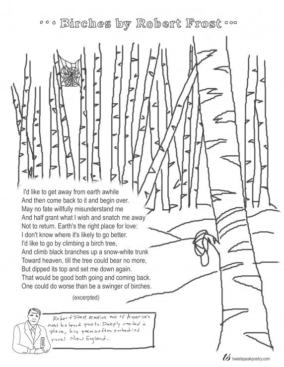 Coloring Page Poems Birches By Robert Frost Robert Frost