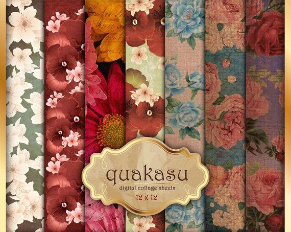 VINTAGE FLOWERS- Digital Paper Pack Digital Paper Scrapbook Paper Digital Collage Sheet Vintage Background