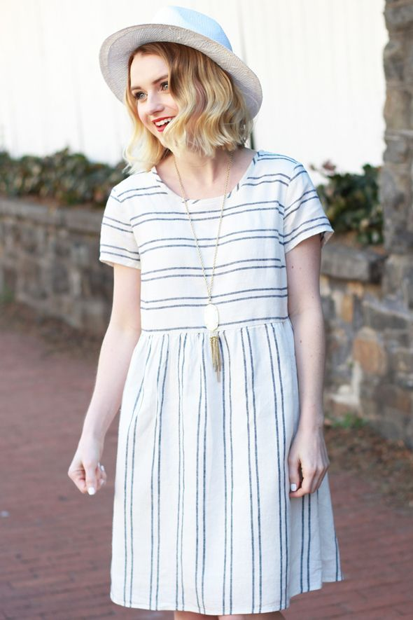 Linen Striped Dress and Panama Hat - via @poorlilitgirl