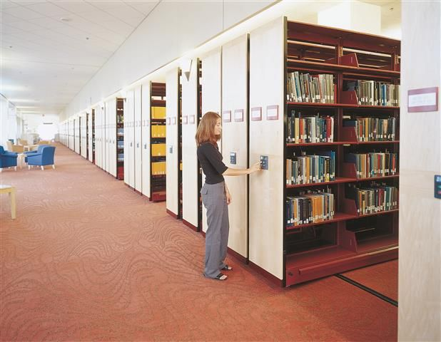 Mobile Bookshelves For Libraries High Density Shelving At Cmu