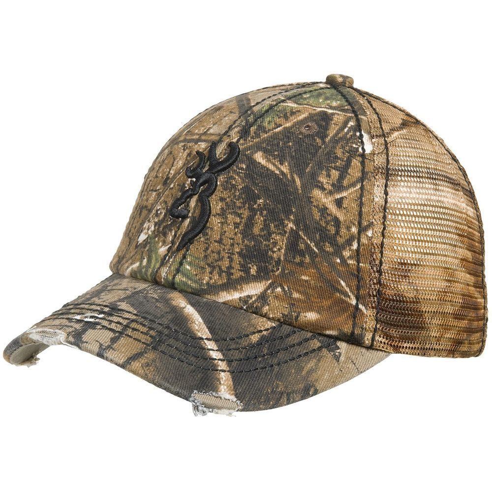 New Browning Bandit Ball Real Tree Slouch Fit Camo Trucker Hat Cap Browning Country Hats Camo Hats Camo Trucker Hat
