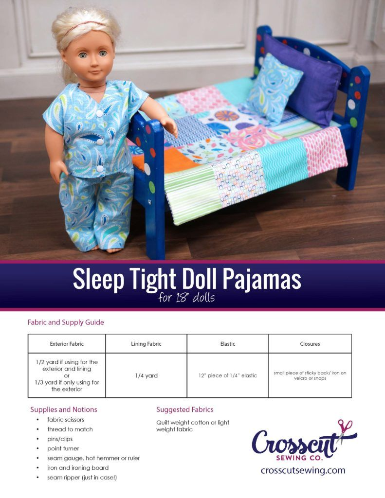 I have been busy getting ready for our kids summer classes.  In one of our classes, we paint a doll bed, make bedding for it and make some pajamas for 18″ dolls.  I searched for a fairly easy doll pj pattern, figuring there had to be one out there somewhere.  I couldn't find quite what I was looking for, so I drafted my own pattern and thought I would share it. Doll clothes are tricky because they are so small.  I designed this so we…