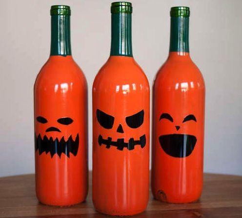 DIY Jack-O-Lantern Wine Bottles