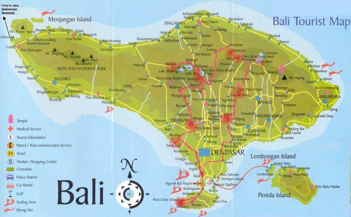 Bali Motorbike Route Map Tourist Map Bali Weather Bali