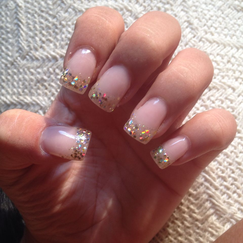 Gold sparkle glitter acrylic nail tip design | Nail Designs by Me ...