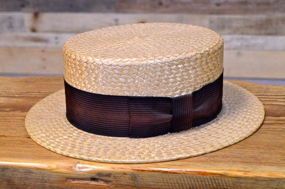Vintage Straw Boater Hat Skimmer Hat Mens Straw by ScoutandForge ... 65d62e33306
