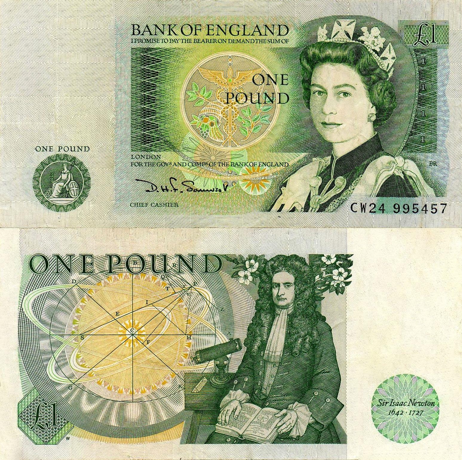 Reino Unido 1 Libra Esterlina 1971 Motivo Isaac Newton Money Collection Star Wars Movies Posters Money Notes