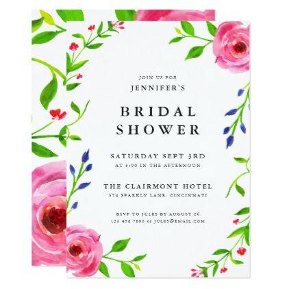 Modern Boho Floral Bridal Shower Invitations - cyo diy customize unique design gift idea perfect