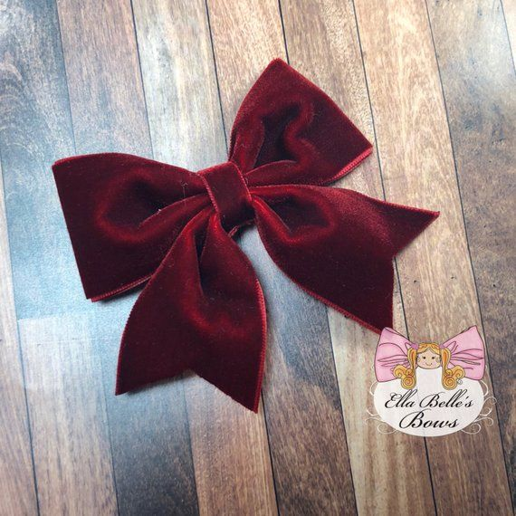 b7695315e8f3 Burgundy Velvet Bow~ dark red Christmas bow, velvet hair bow, velvet hairbow