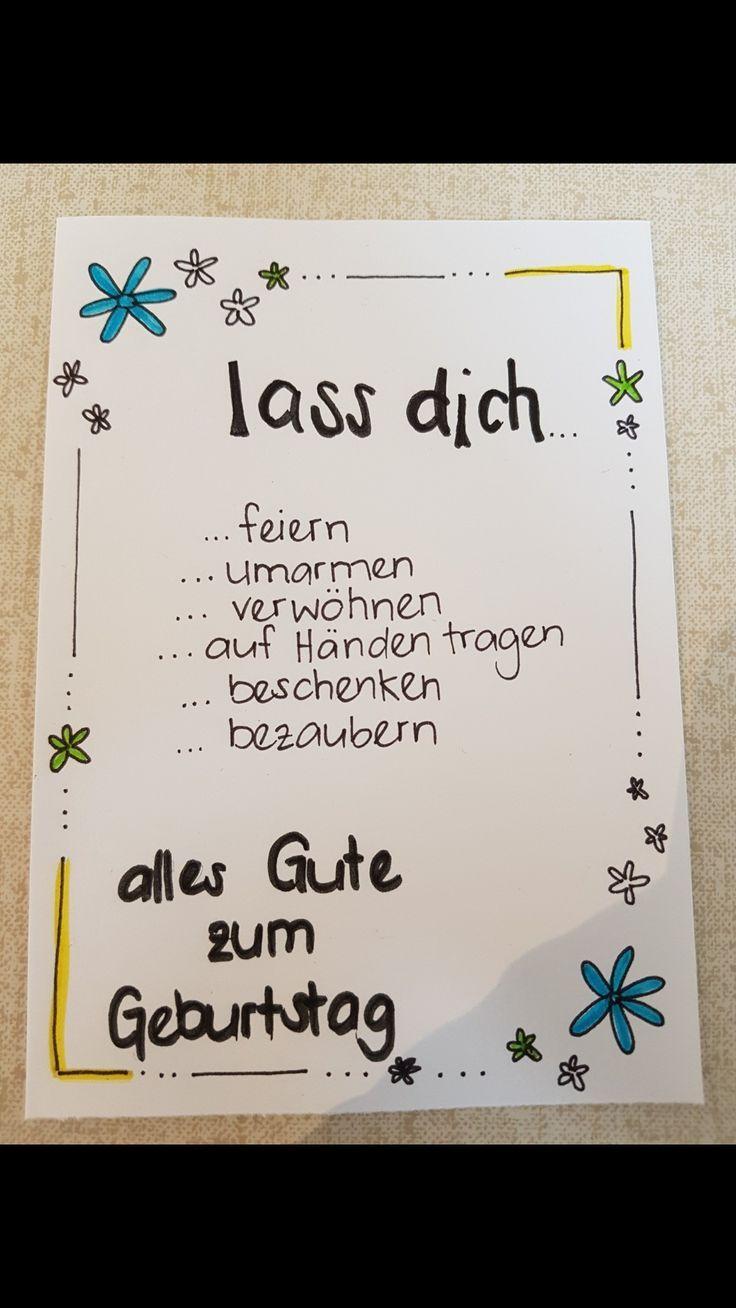 Handgeschriebene Faltkarte zum Geburtstag mit Blumenrand | Glückwunschkarte geburtstag
