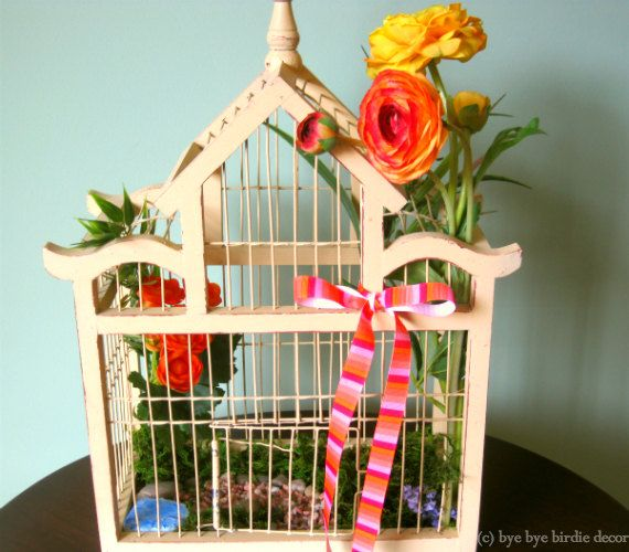 Decorative Wood Bird Cage / Light Cream Bird Cage with
