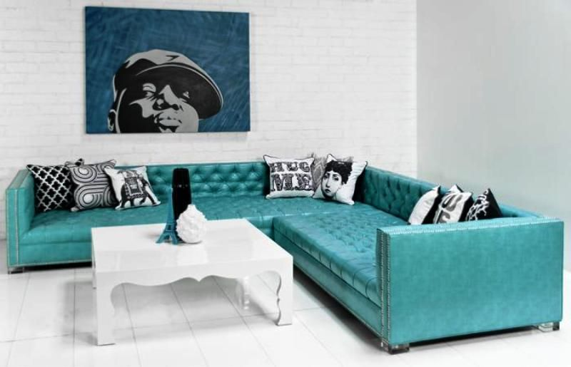 Turquoise Sectional Sofa Couch Design Leather Corner Sofa