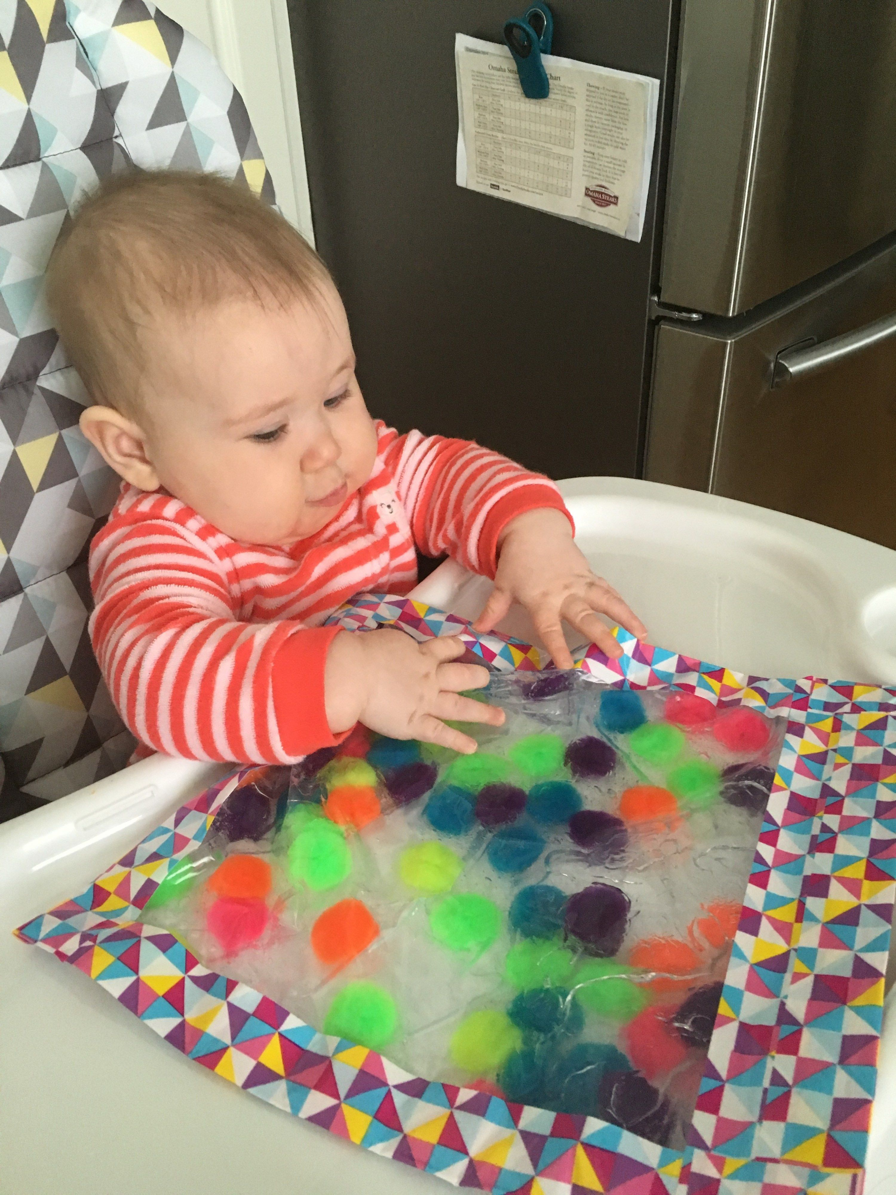 6 month old squishy sensory bags life as mama bear
