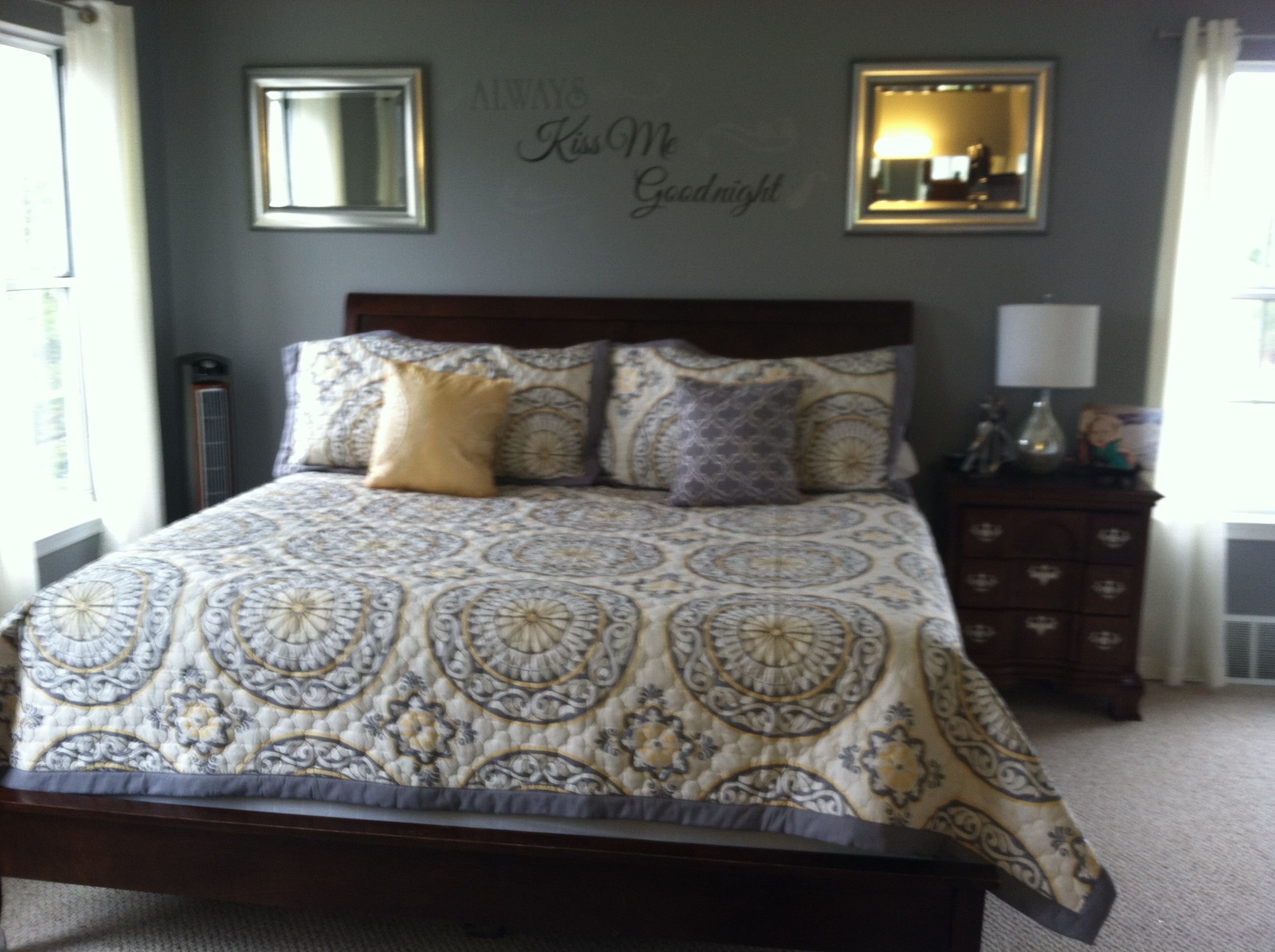 Master bedroom yellow walls  Gray and yellow bedroomJust bought this bedding Need to paint the