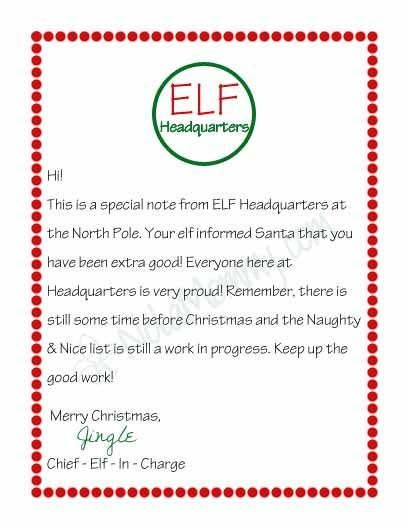 Elf On The Shelf Welcome Letter  Letter From Your Elf On The