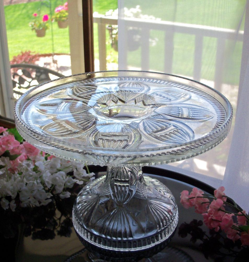 EAPG ANTIQUE GLASS PEDESTAL CAKE STAND PLATE . KAYAK PATTERN . HTF SMALL SIZE & Eapg antique glass pedestal cake stand plate . kayak pattern . htf ...