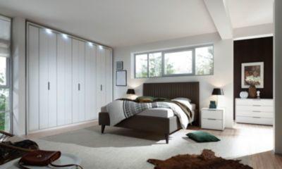Schlafzimmer mit Bett 180 x 200 cm weiss matt lackiert/ wenge ...