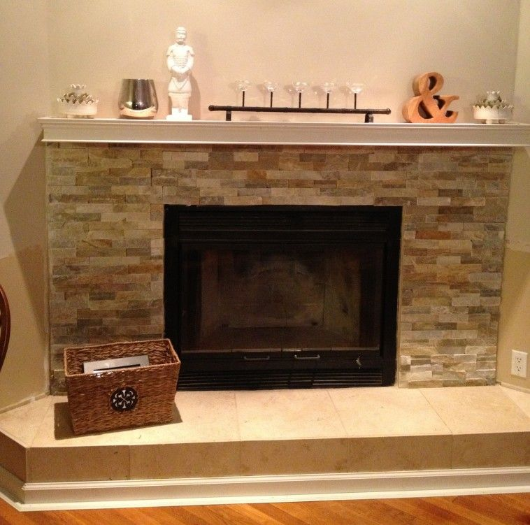 Grey Stone Wall Mounted Mantel Shelf With Beige Tile Hearth