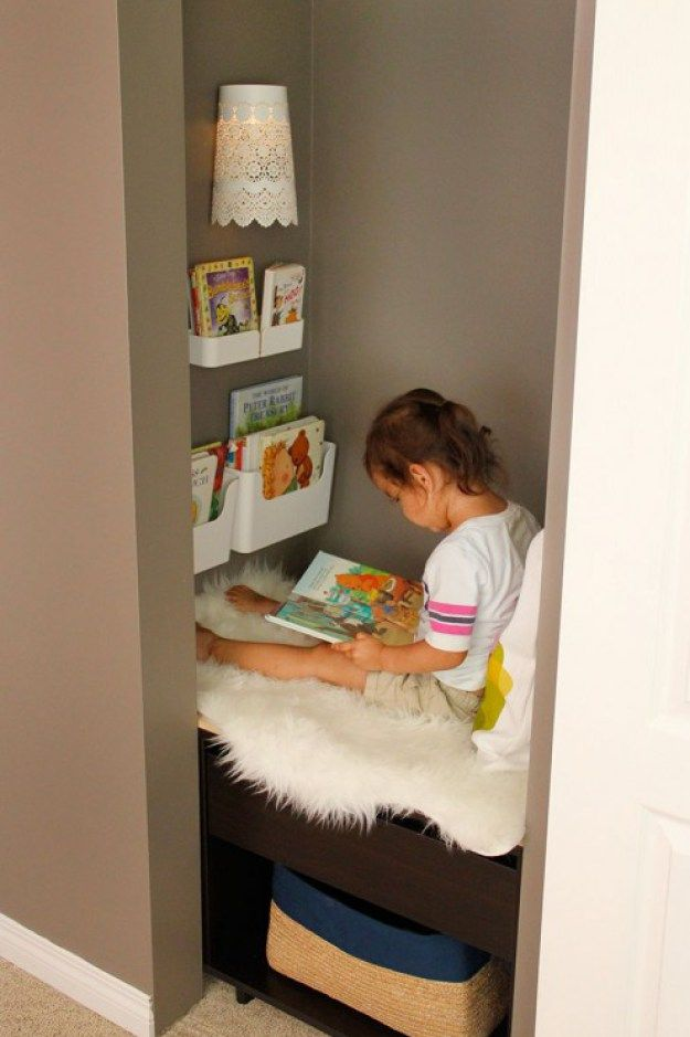 Kids Reading Nook Added To A Closet Reading Nook Kids Book Nook