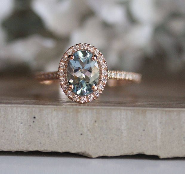 Aquamarine Engagement Ring, Oval 8x6mm Natural Aquamarine 14k Rose Gold and Diamond Halo Ring, Half Eternity Diamond Band, Diamond Halo Ring #aquamarineengagementring