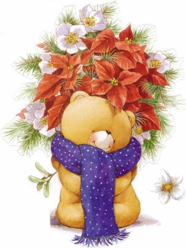 медведь цветы открытка наборы одноразовых