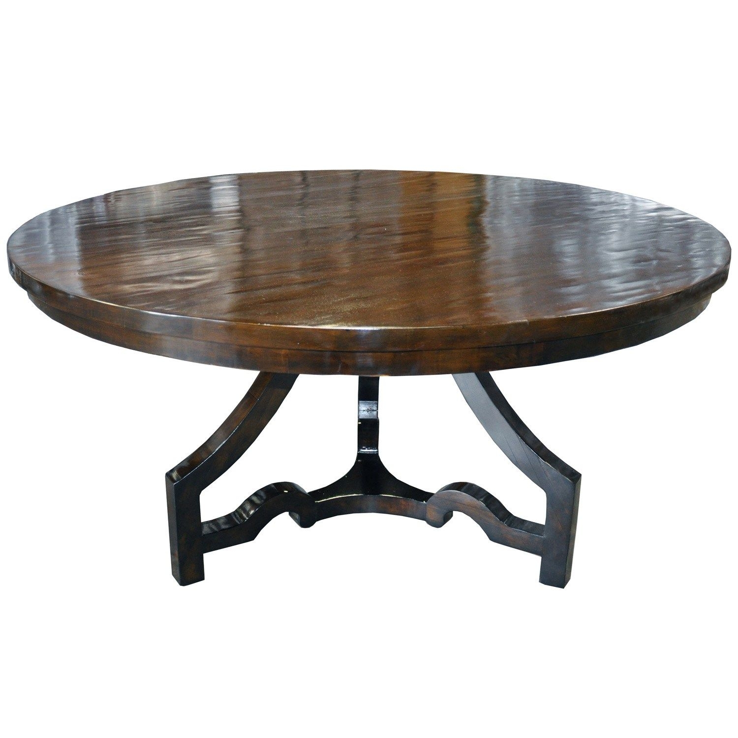 Breakfast: 1896 Noir 3 Leg Round Dining Table Distressed Brown