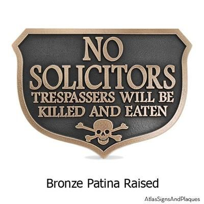 Solicitors Will Be Killed And Eaten Sign In Iron Rust Finish