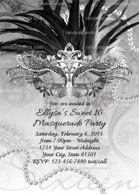 masquerade ball invitation black and white sweet 16 party silver