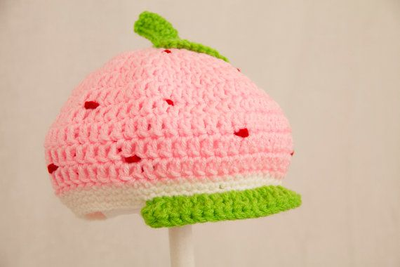 Strawberry Shortcake Newsboy Hat, Pink Crochet Beanie | Crochet ...
