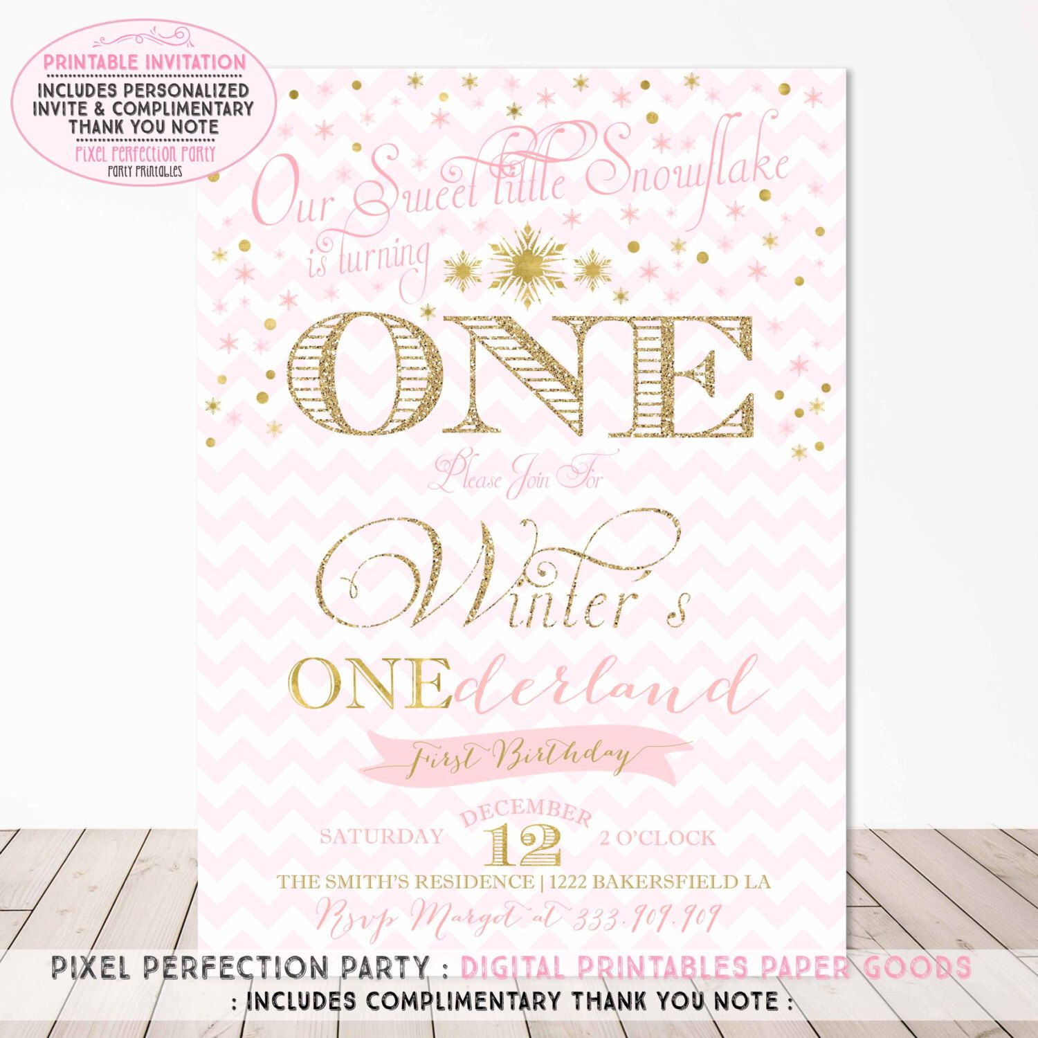 Winter ONEderland First Birthday Invitation Winter ONEderland ...