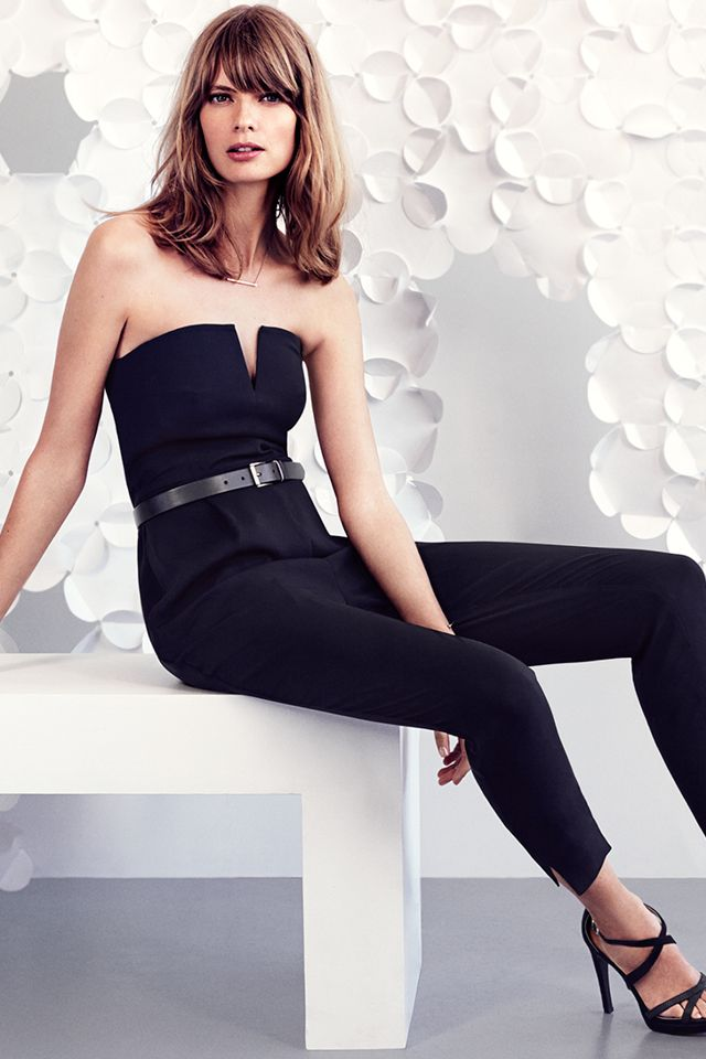 0a2f965029b Black strapless jumpsuit with pockets.
