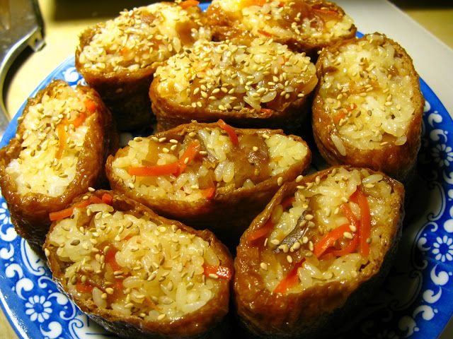 I Believe I Can Fry: Inari Zushi - Japanese Fried Tofu Stuffed with Seasoned Rice (Vegetarian/Vegan)