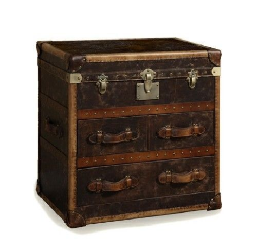 "30"" Wide Trunk 3 drawer top box chest vintage leather aged patina London trunk"