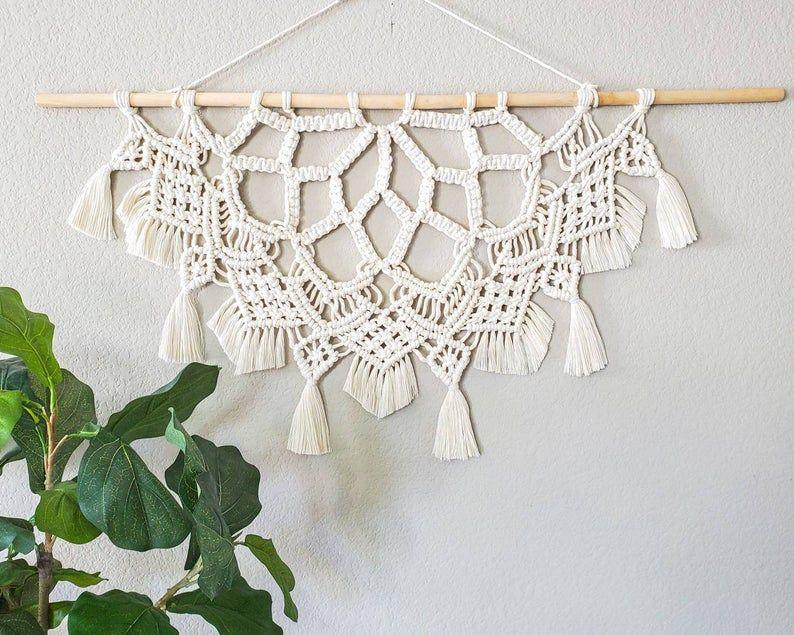 Macrame half mandala wall hanging. Boho style home decor, large macrame wall hanging, Scandinavian decor, housewarming gift, gifts for her