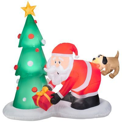 Gemmy Industries Airblown Inflatables Santa and Dog Scene Products - lowes halloween inflatables