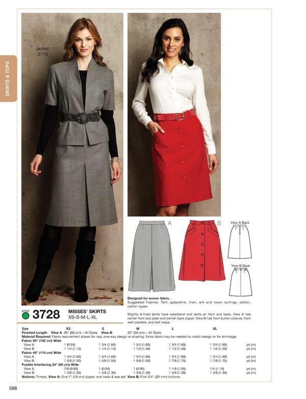 PAPER PATTERN Kwik Sew 3728 Skirts sewing pattern | Clothing ...