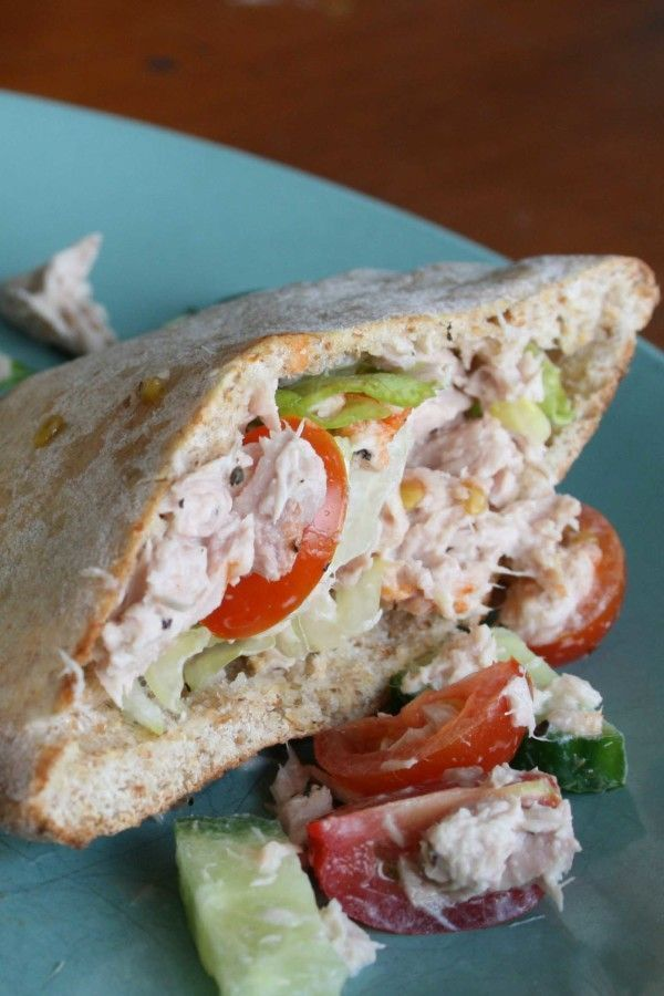 Tuna Salad in Toasted Wholewheat Pita Pockets - Clean Eating with kids