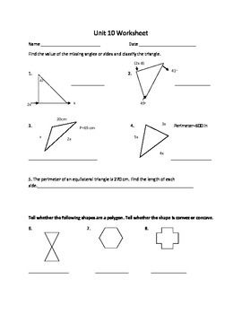 Polygon Unit Worksheet Or Study Guide Worksheets Finding Area