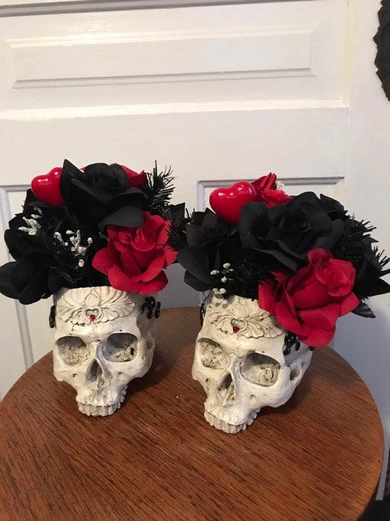 Gothic skull centerpiece skull floral goth skull flower pot